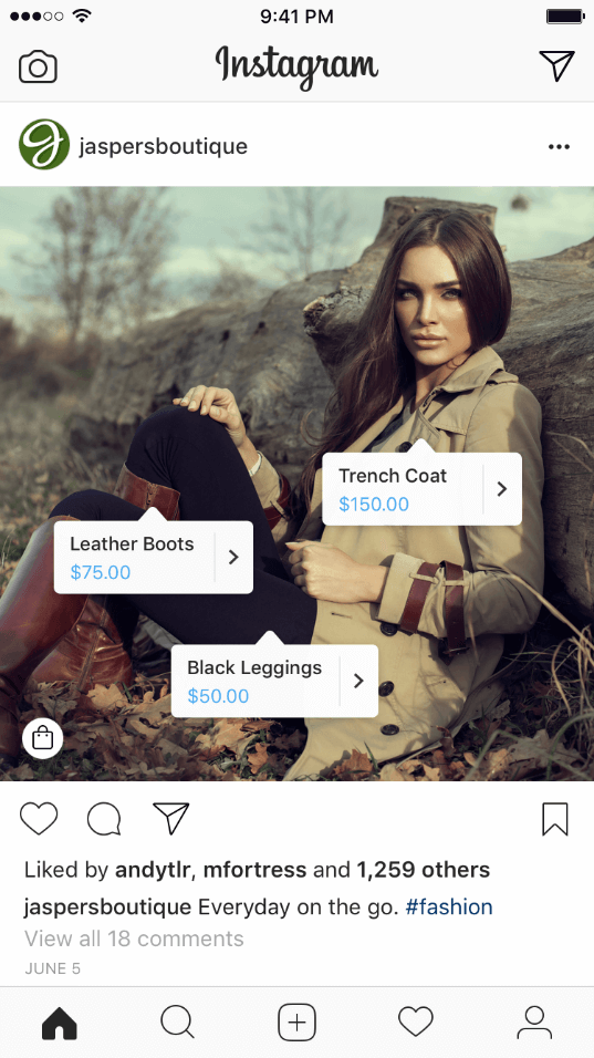 Exemple Instagram Shopping publication tags