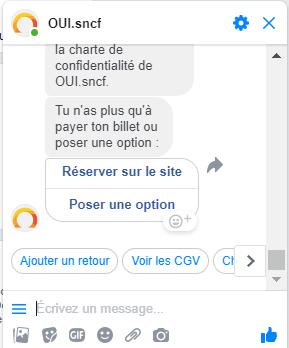 Exemple Messenger acheter billet SNCF social commerce 3