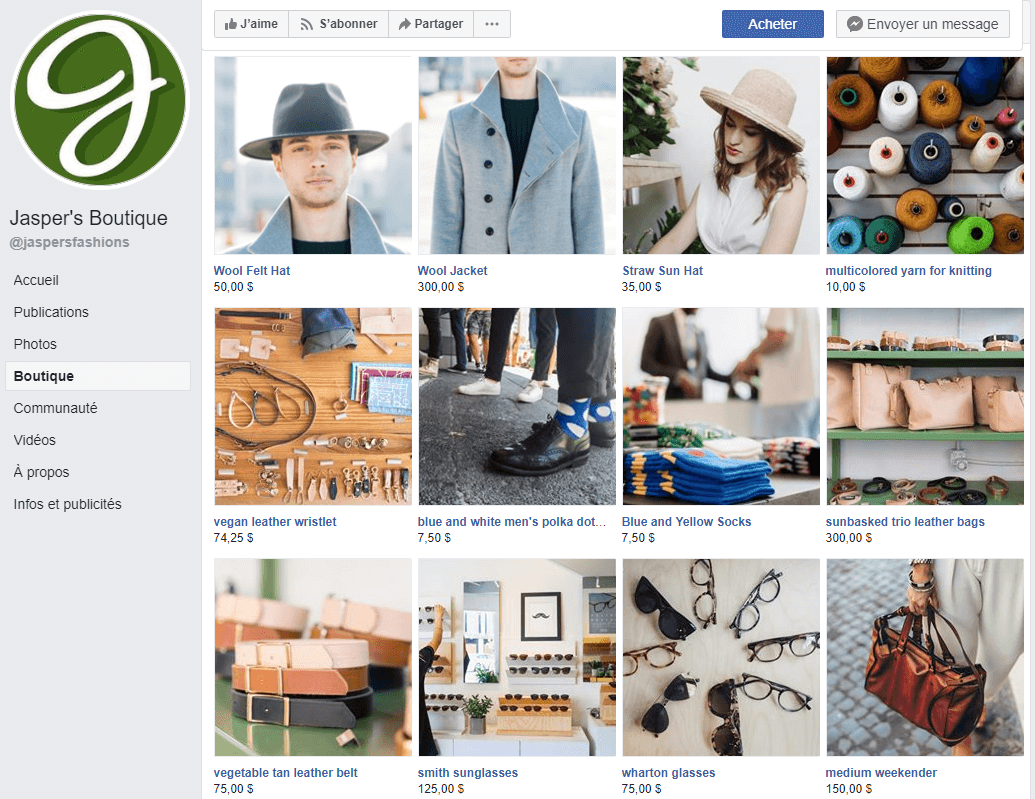 Exemple boutique facebook social commerce Jasper's