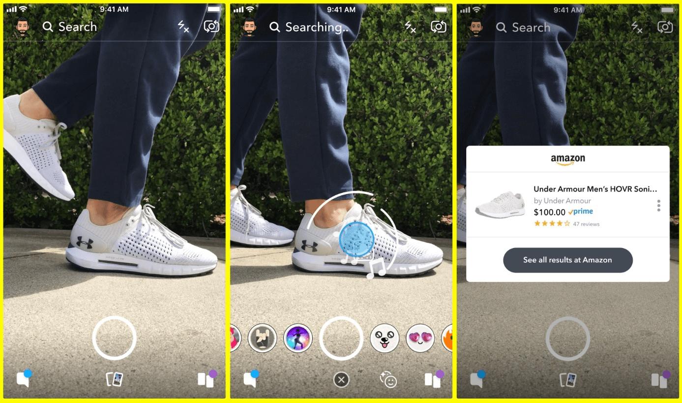 Exemple recherche visuelle Snapchat social commerce