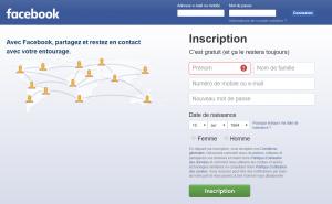 formulaire facebook inscription