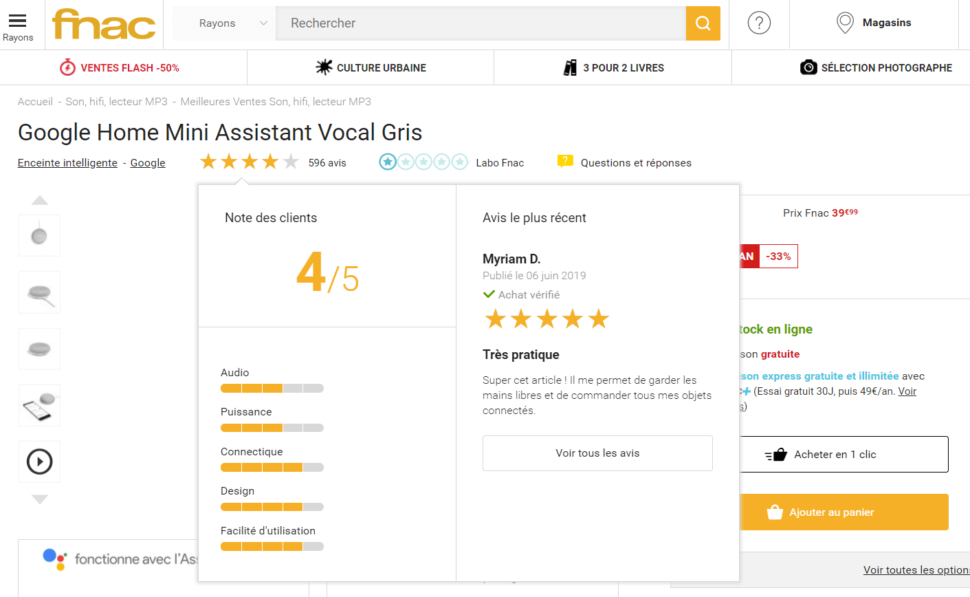 exemple avis clients Fnac pour la Google Home 2