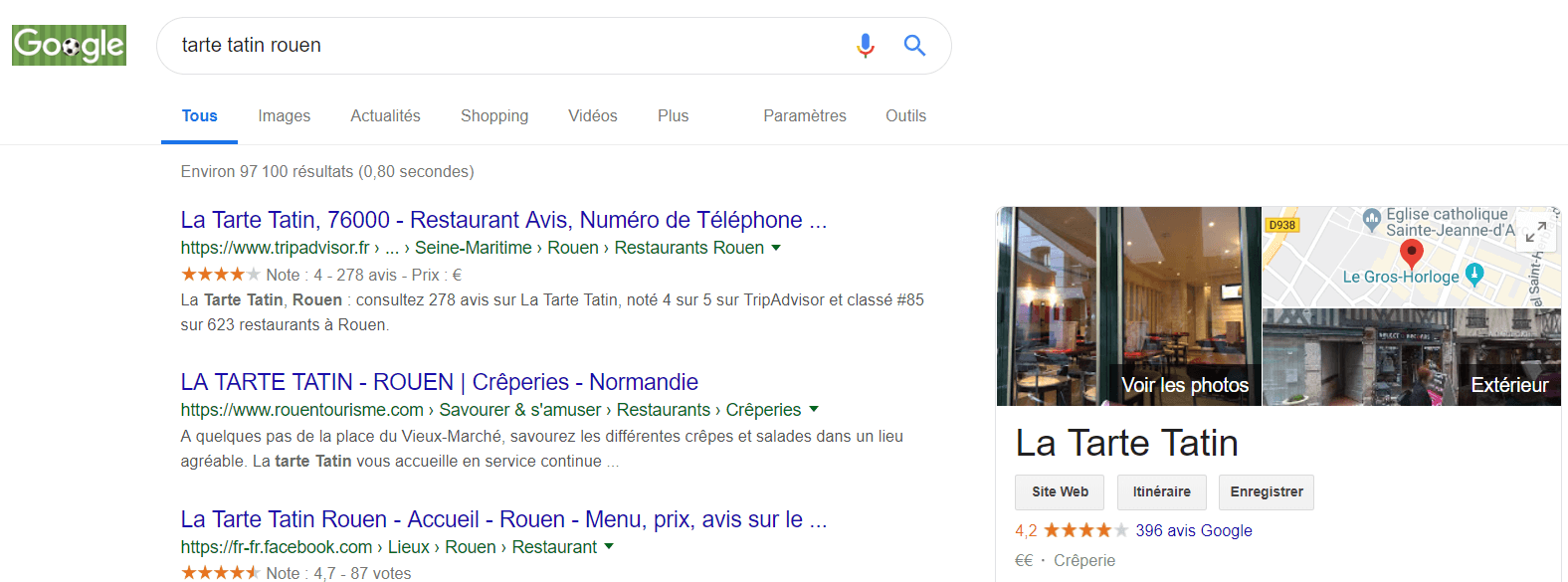 exemple avis clients Google restaurant Tarte Tatin Rouen 1