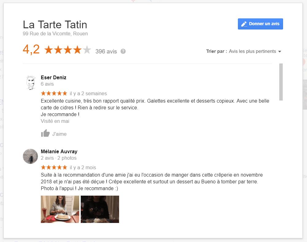 exemple avis clients Google restaurant Tarte Tatin Rouen 2