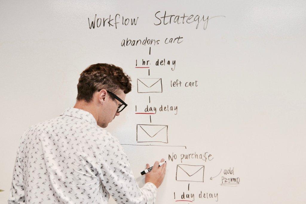 homme créant sur un tableau l'organisation de son scénario pour sa stratégie de marketing automation